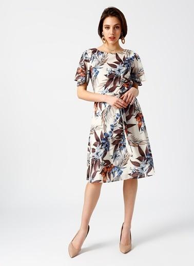 Fabrika Kısa Kollu Desenli Elbise Renkli